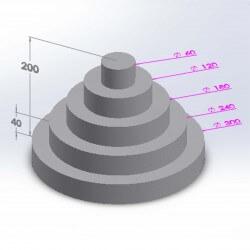 Pièce montée ronde 5 étages 20cm en polystyrène