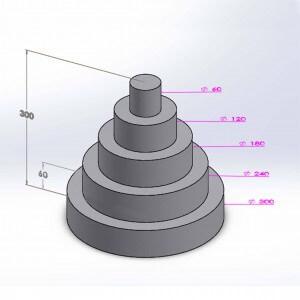 Pièce montée ronde 5 étages 30cm en polystyrène