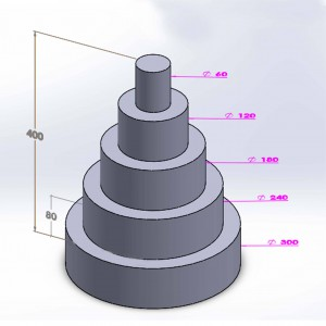 Pièce montée ronde 5 étages 40cm en polystyrène