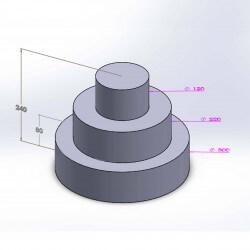Pièce montée ronde 3 étages 24cm en polystyrène