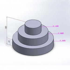 Pièce montée ronde 3 étages 18cm en polystyrène