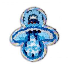 Sucette tétine bébé bleue en bonbons