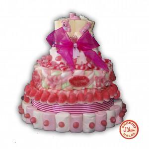 Gâteau baptême fille en bonbons