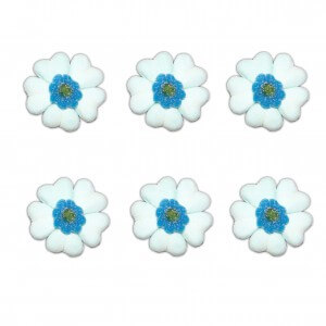 Fleur de table bleue en bonbons