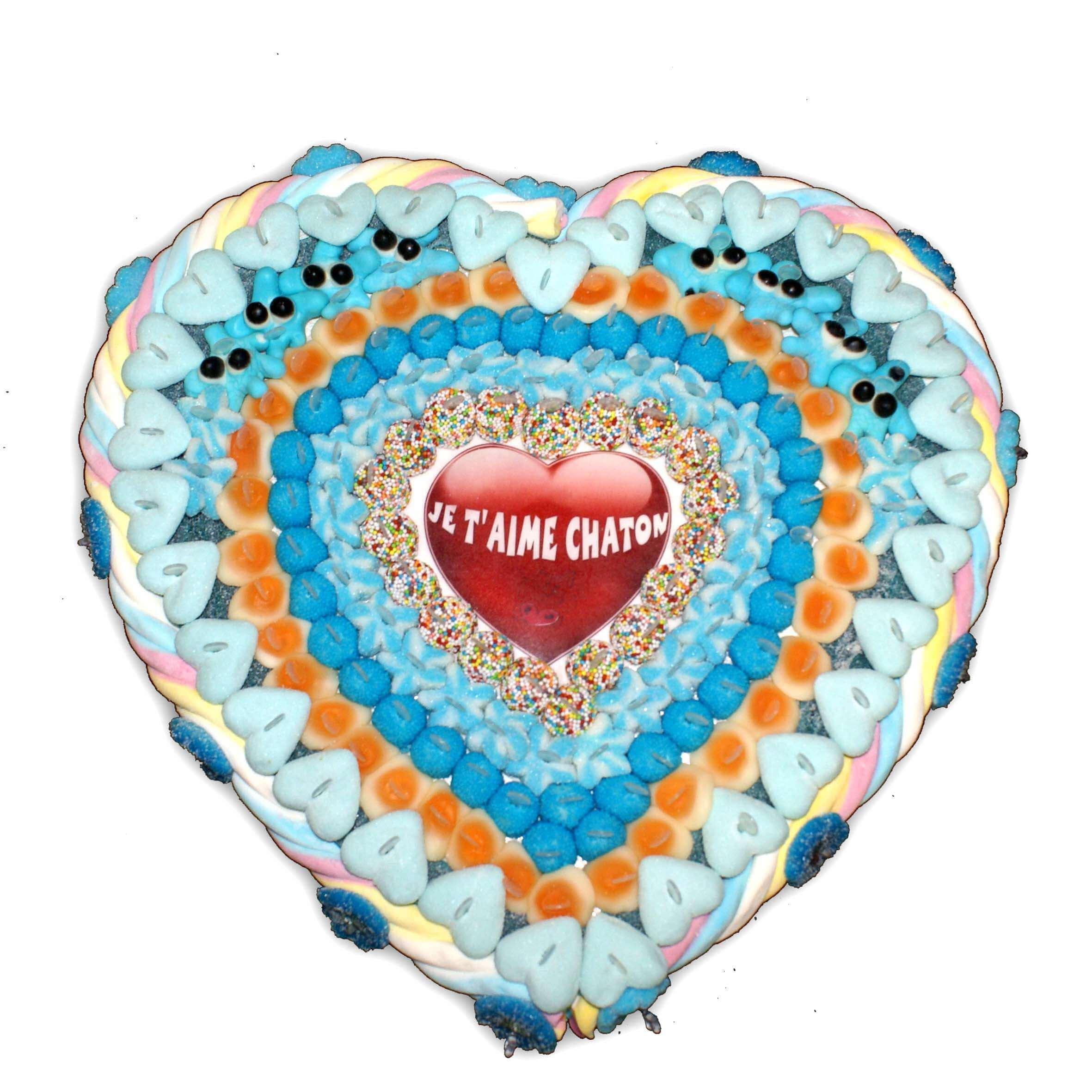 cœur en bonbons bleues
