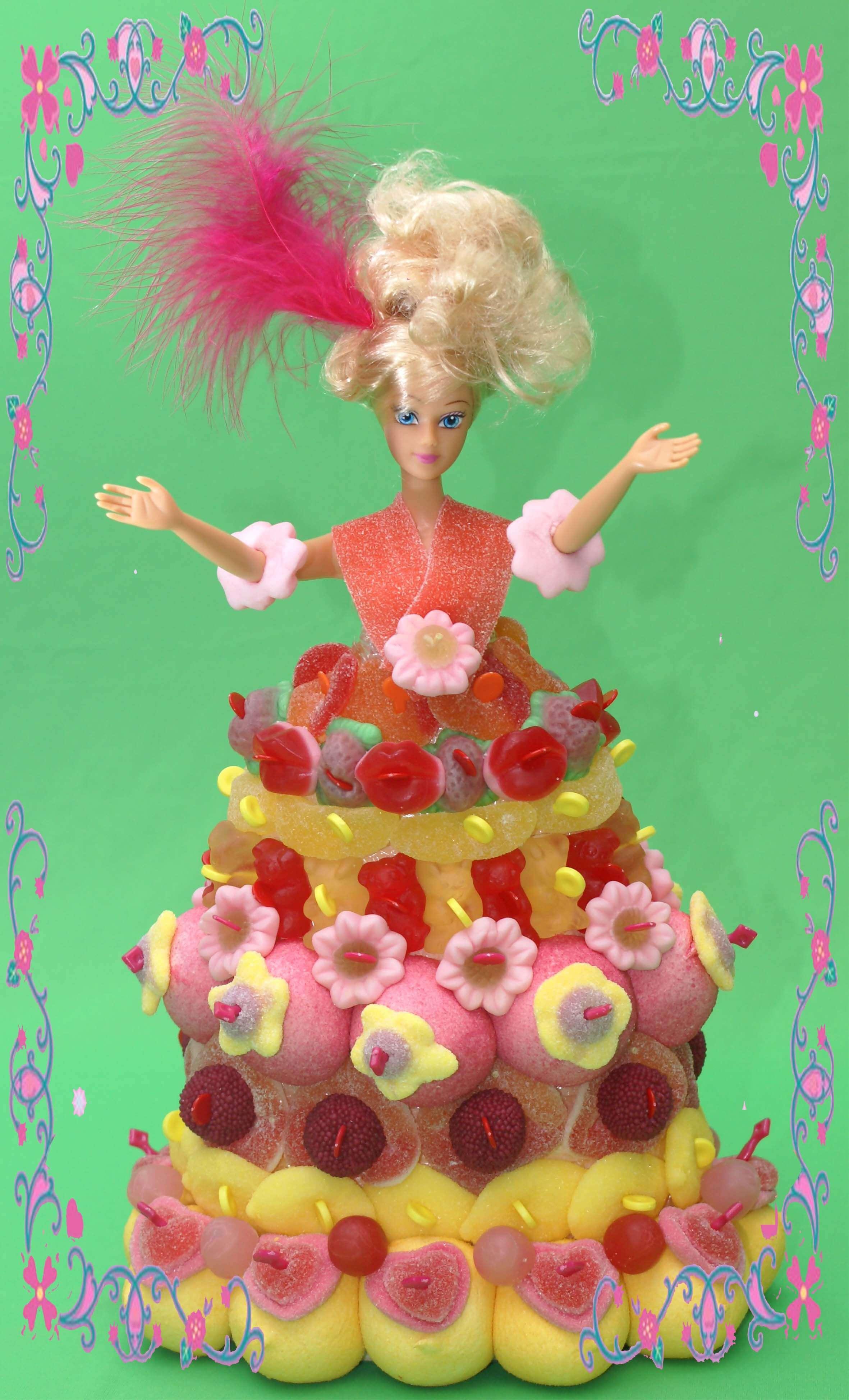 Poupée barbie en bonbons