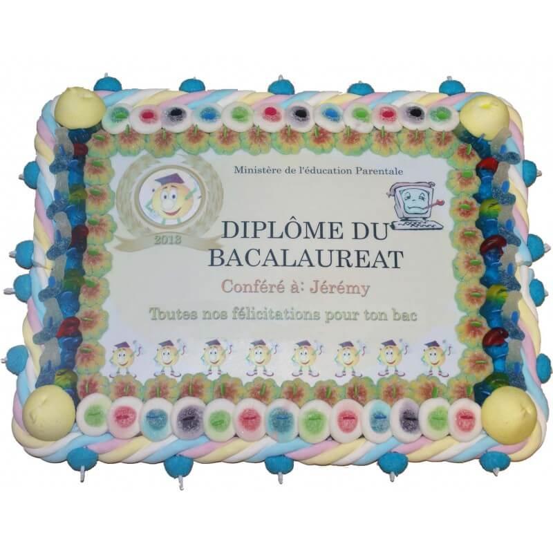 Gâteau en bonbons diplôme