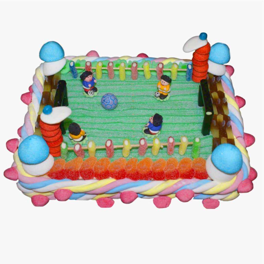 Terrain de football en gateau bonbon