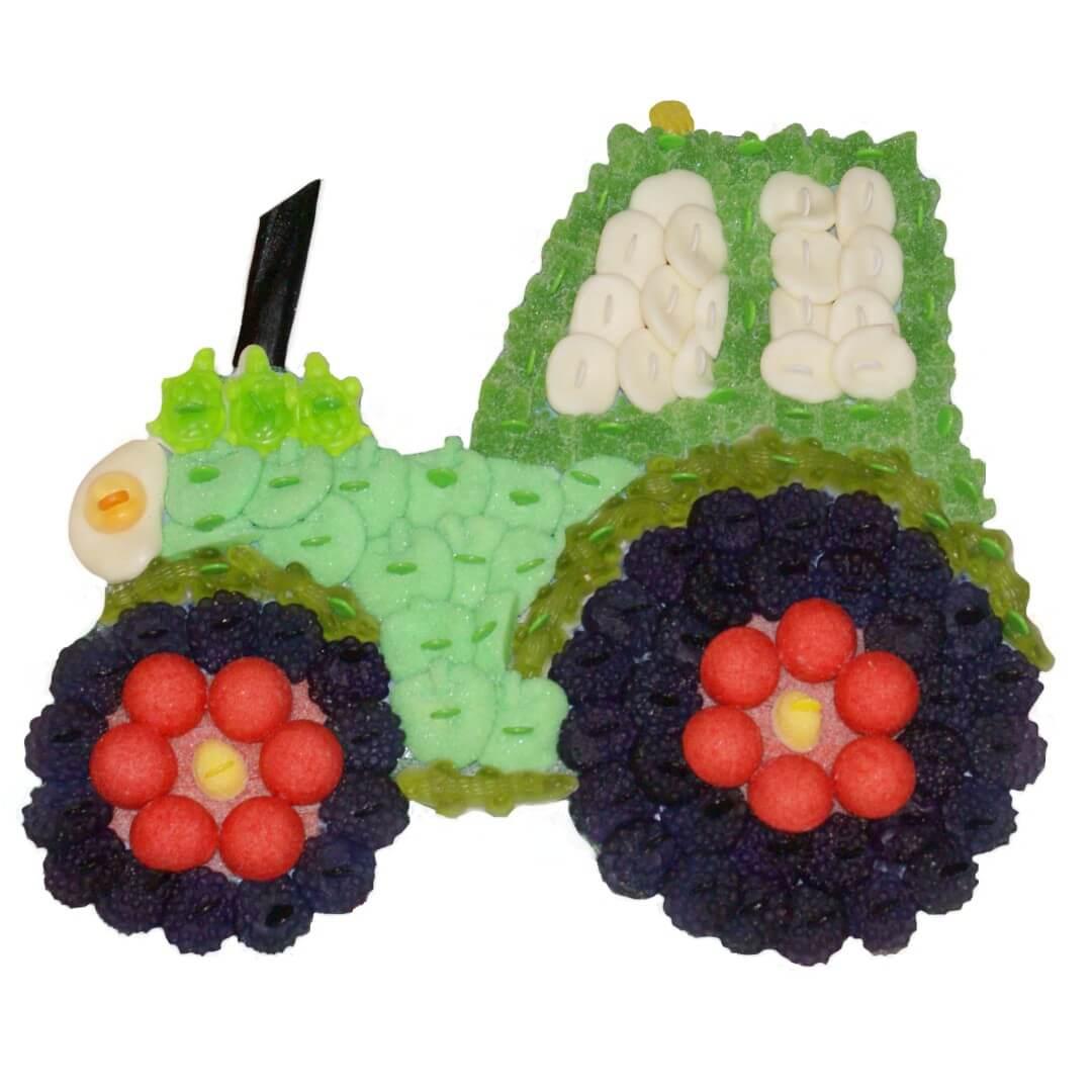 Tracteur en bonbons verts