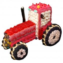 Tracteur 3D en bonbons rouge