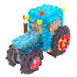 Tracteur 3D en bonbons bleus
