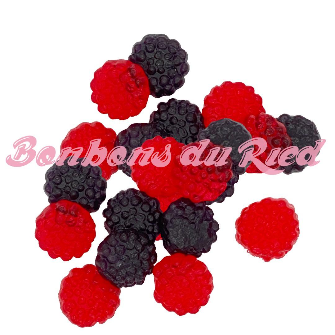 Bonbon mûres gélifiées rouges noires