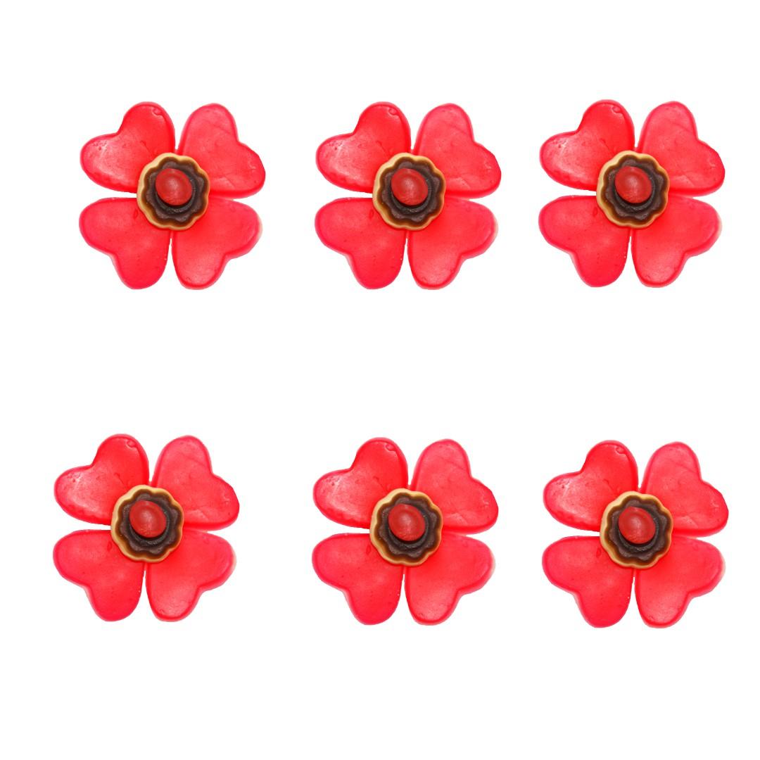fleurs en bonbons rouges