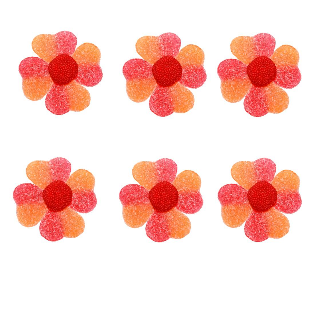 fleurs en bonbons pêche