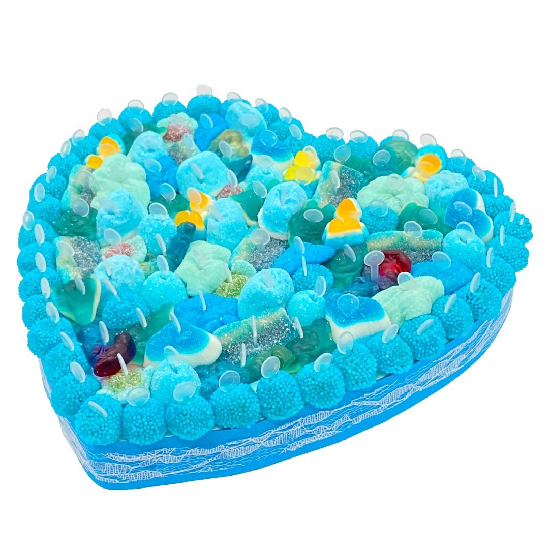 cœur en bonbons bleus
