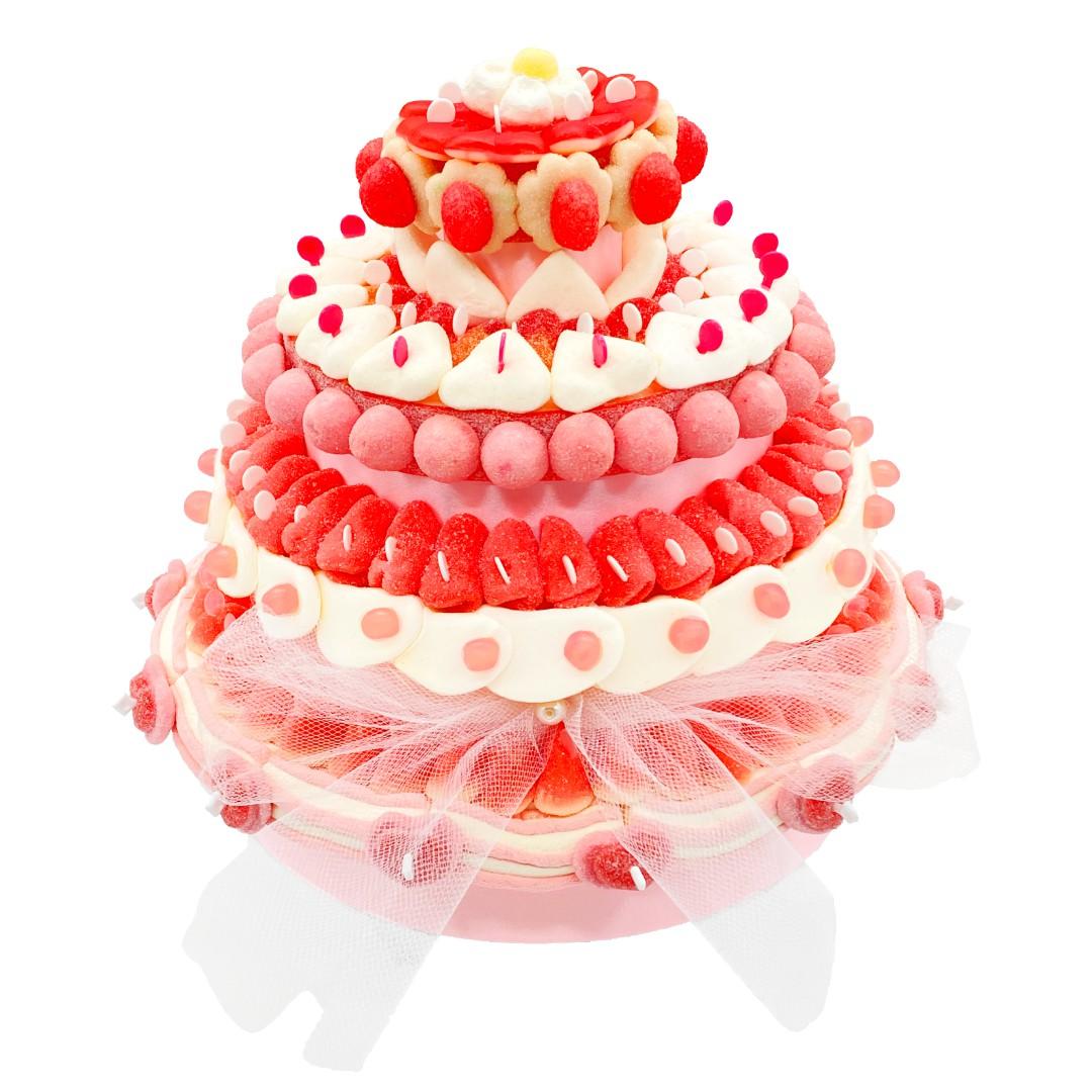 Pièce montée bonbons mariage rose