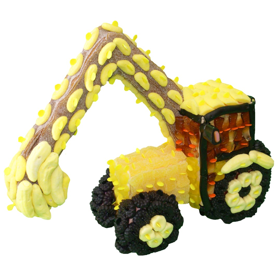 Tractopelle 3D en bonbons