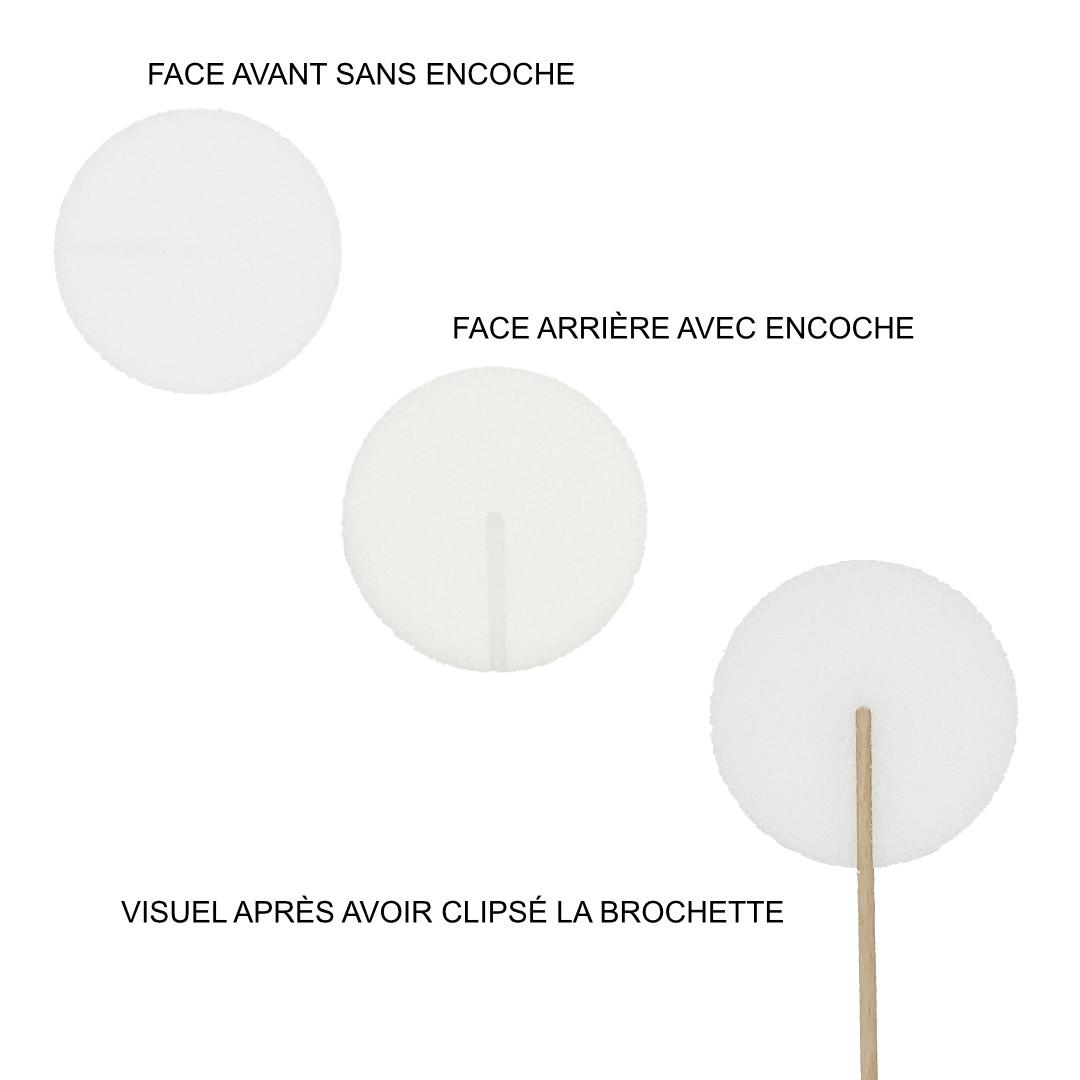 support polystyrène rond pour brochette personnalisée