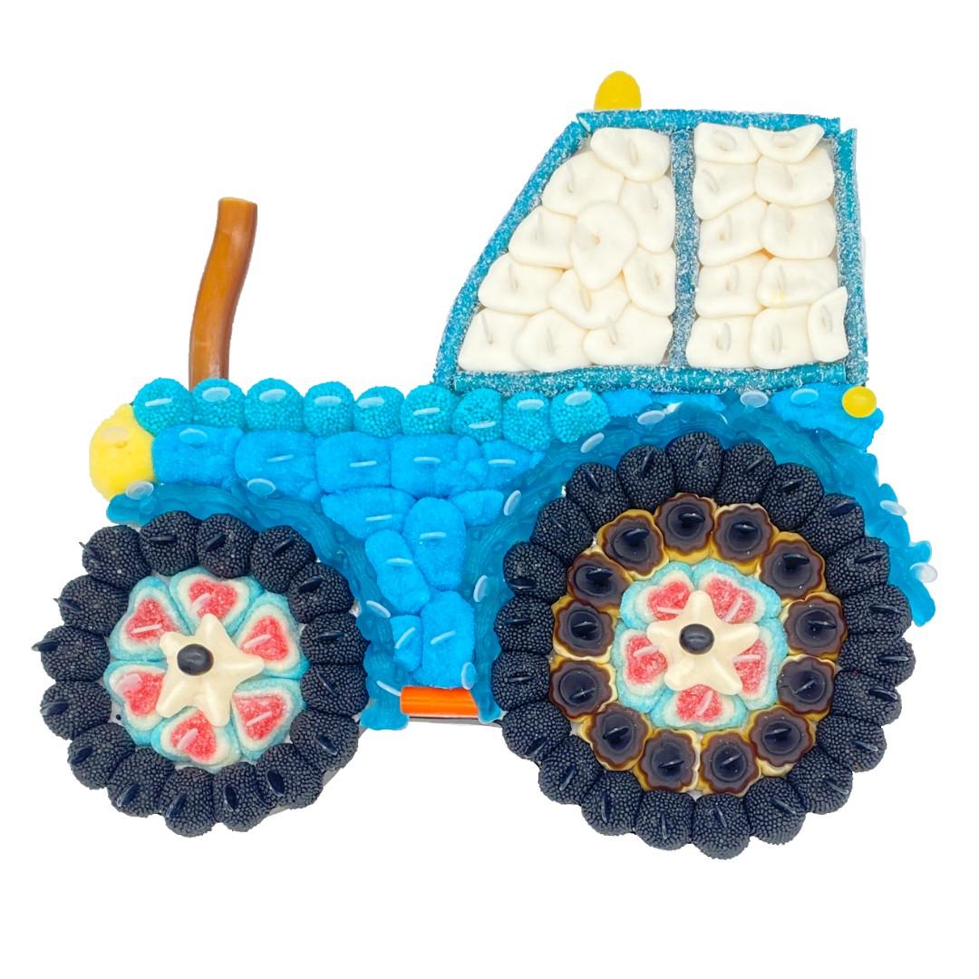 tracteur bleu en bonbon