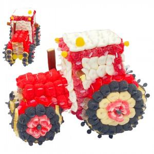 Tracteur en bonbons rouges