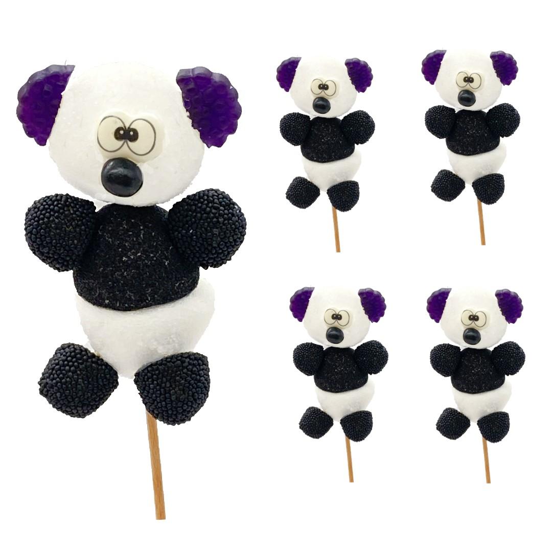 Panda en brochette de bonbons