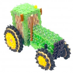 Tracteur 3D en bonbons vert
