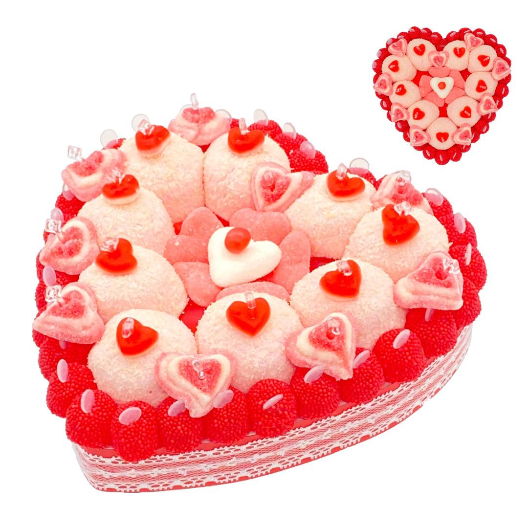 gateau romantique cœur en bonbons