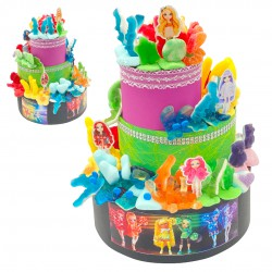 gateau poupée rainbow high bonbon