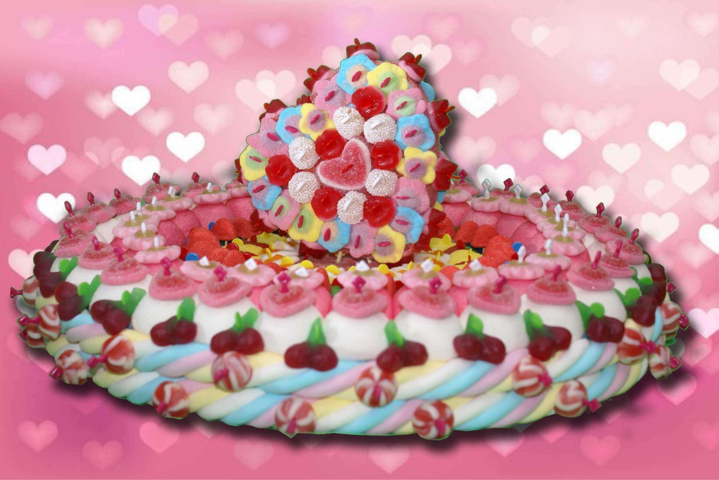Gâteau duo cœur en bonbons