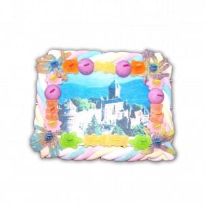 Carte postale en bonbons